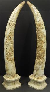 Pair of Large Hand Carved Bone Tusks