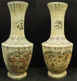 Pair of Large Hand Carved Bone Urns (c. 1930s)