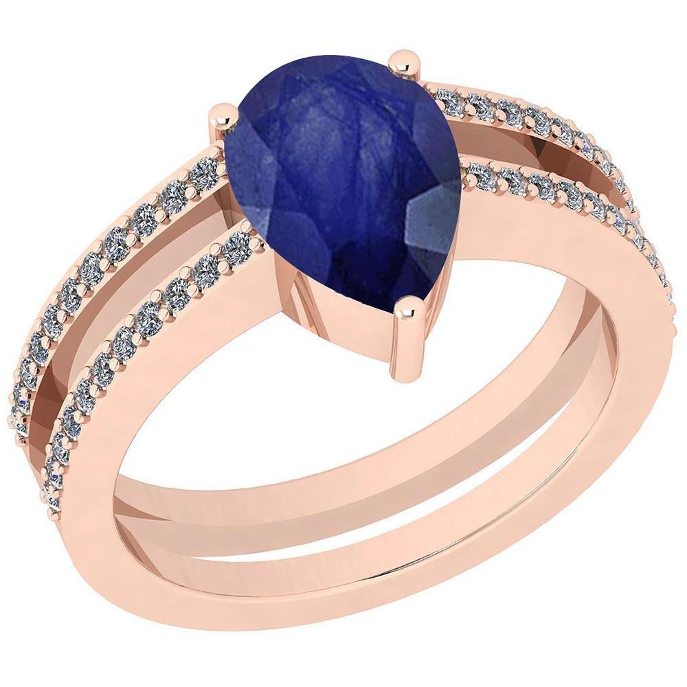 Certified 2.26 Ctw Blue Sapphire And Diamond VS/SI1 10k