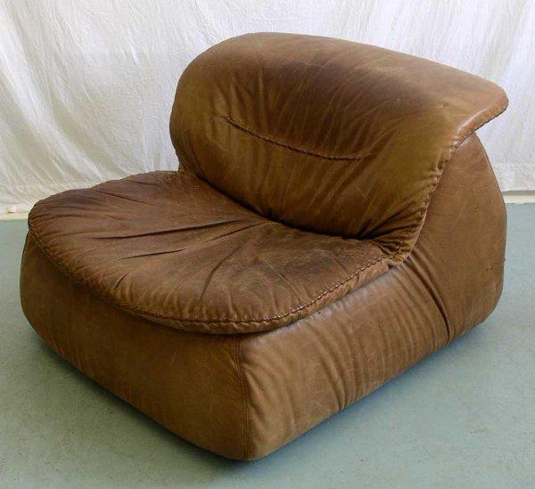 21: An Italian Brown Leather Chair