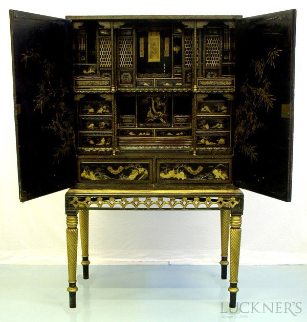 1012: A Chinese Black Lacquer Cabinet on Stand