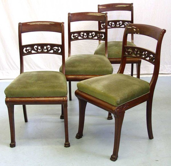 1016: A Set of Four Danish Empire Style Side Chairs (4)