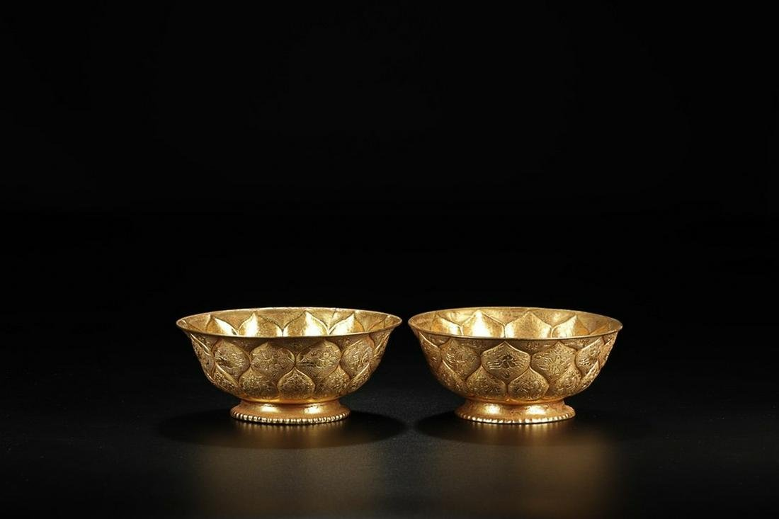"A PAIR OF  "" ZHENGUAN"" MARK GILT BRONZE LOTU PETAL"