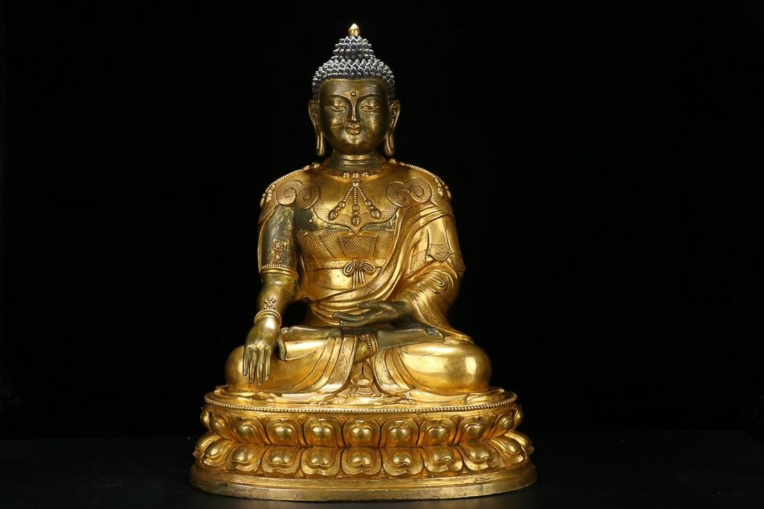 MIDDLE TERM OF QING DYNASTY GILT BRONZE AMITABHA