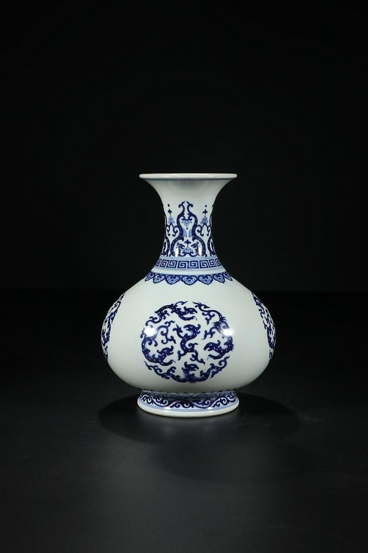 QIANLONG MARK BLUE WHITE CHI DRAGON PATTERNED OKHO