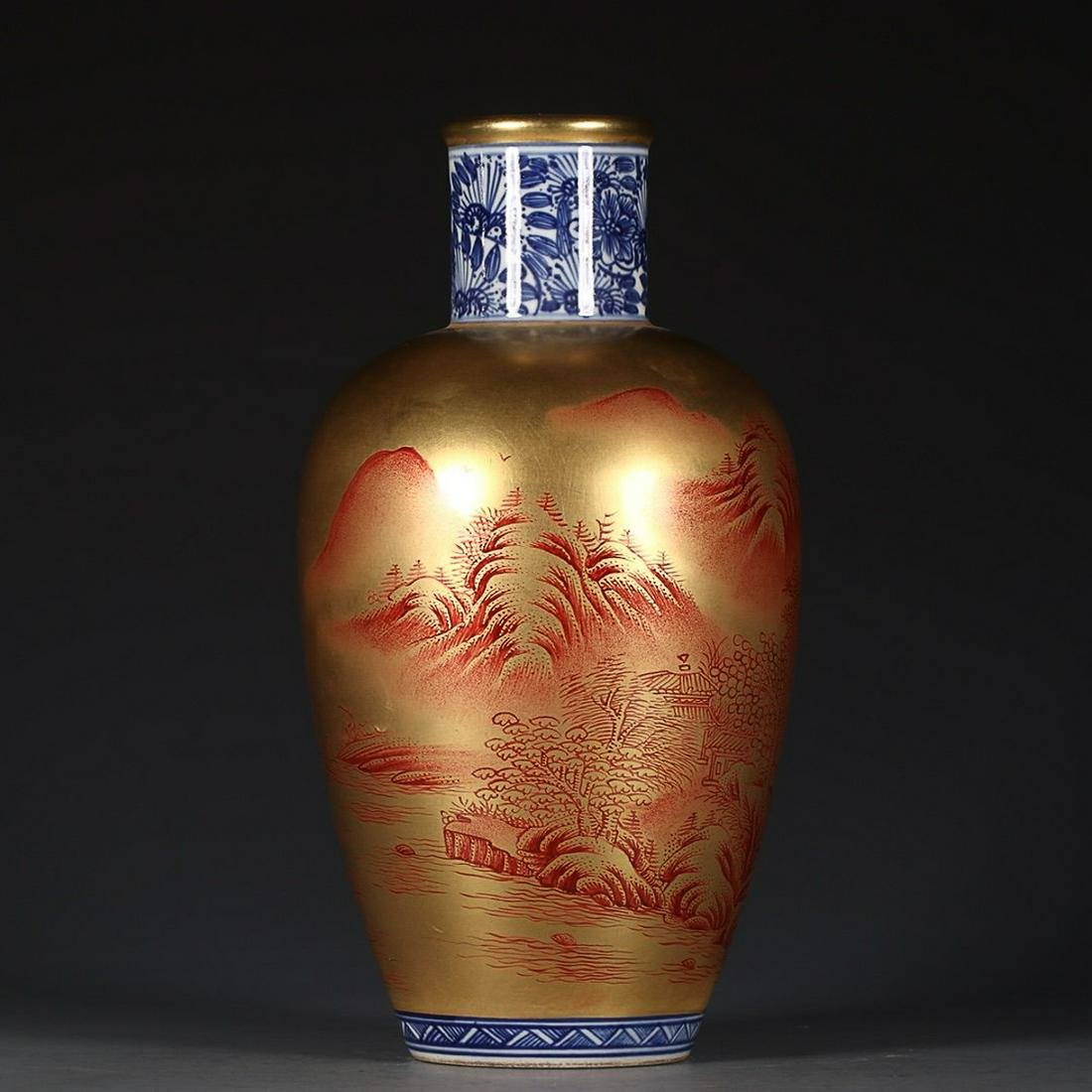 QIANLONG MARK BLUE WHITE OUTLINE IN GOLD FLOWERS AND