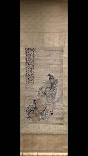 FIGURE INK COLORED PAPER SCROLL BY HUANGSHEN