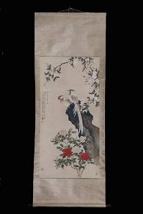 FLOWERS AND BIRDS SCROLL BY CHENZHIFO
