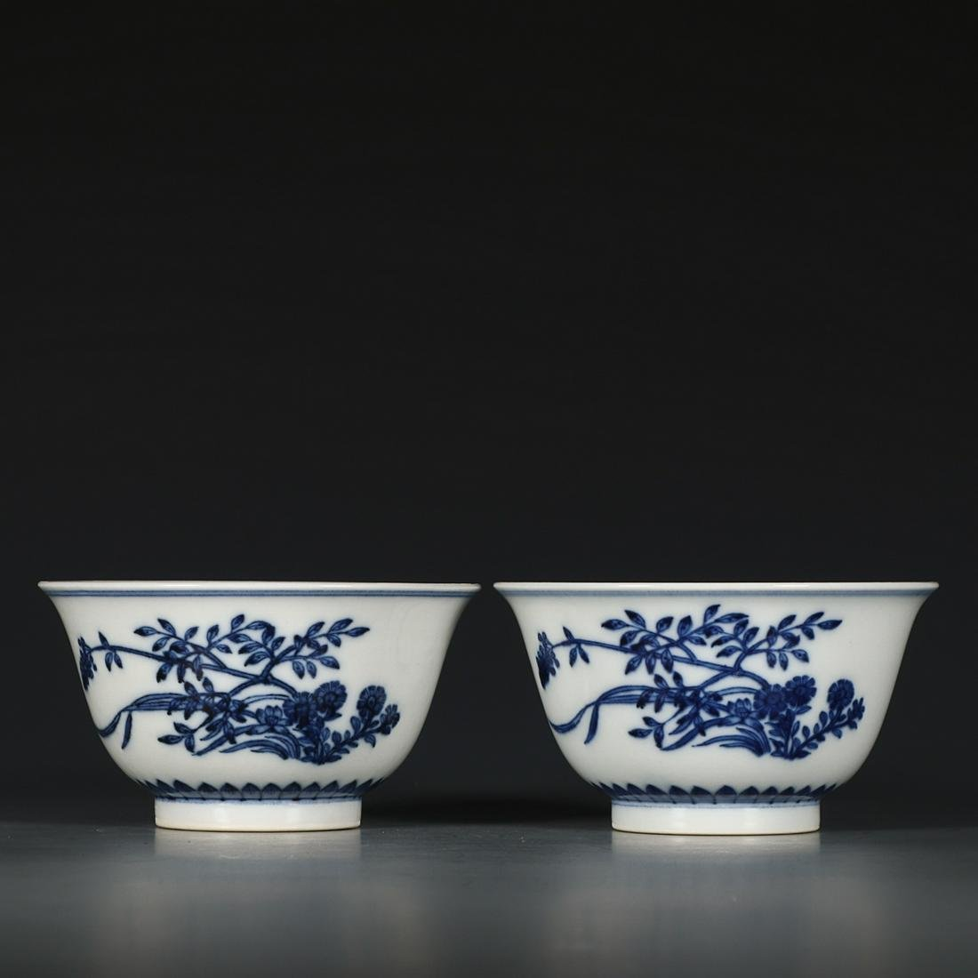 YONGZHENG MARK BLUE WHITE FLOWERS AND PLANTS PATTERNED