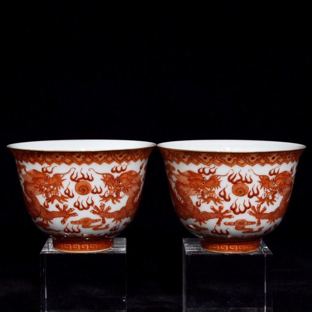 YONGZHENG MARK IRON RED GLAZED OUTLINE IN GOLD