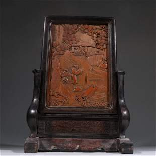 ZITAN WOOD EMBEDED BAMBOO CARVED FIGURE STORY SCREEN