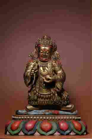 WOOD PAINTED GOLD EMBEDED GEMS MAHAKALA STANDING