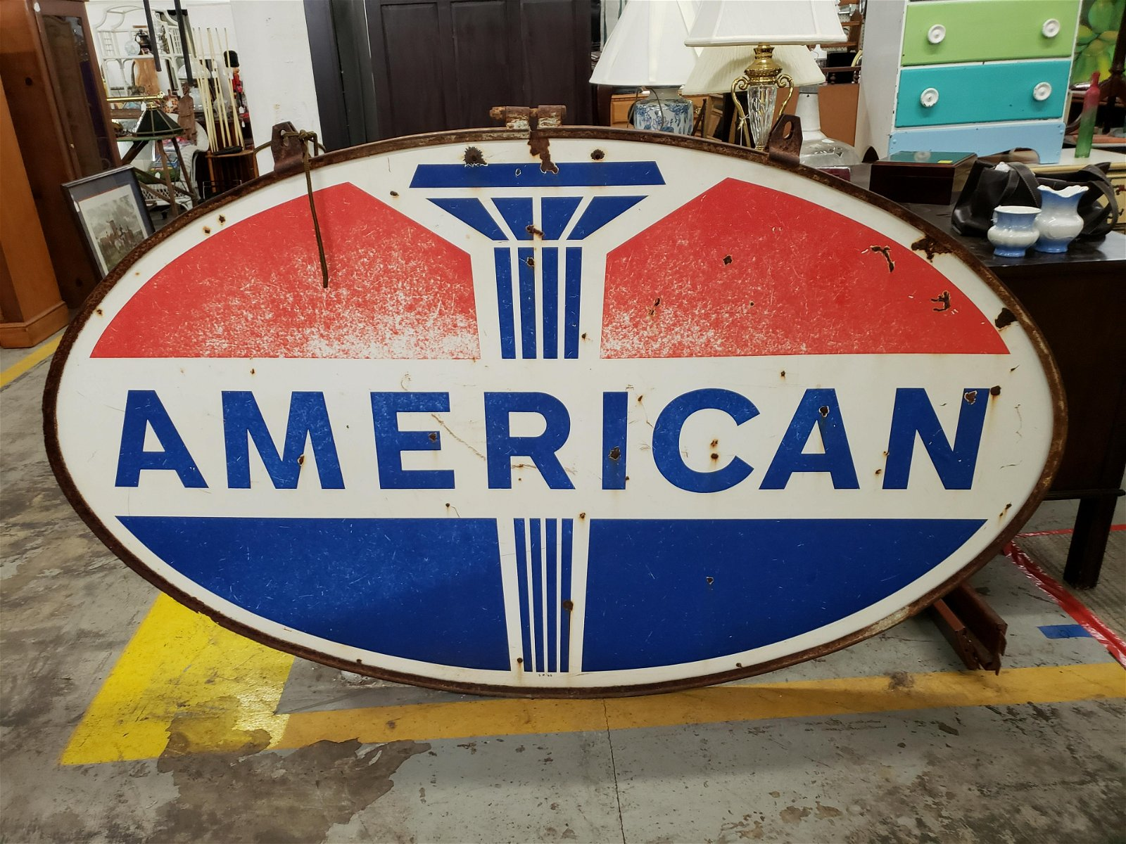 Vintage American Oval Sign S.P. 66 2-sided  side nearly