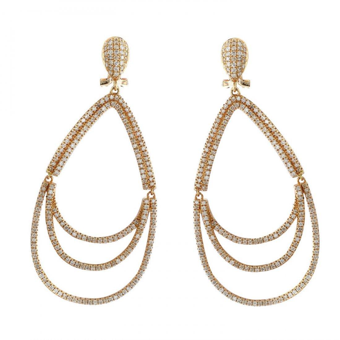 18K Rose Gold 2.45 CT Diamond earrings