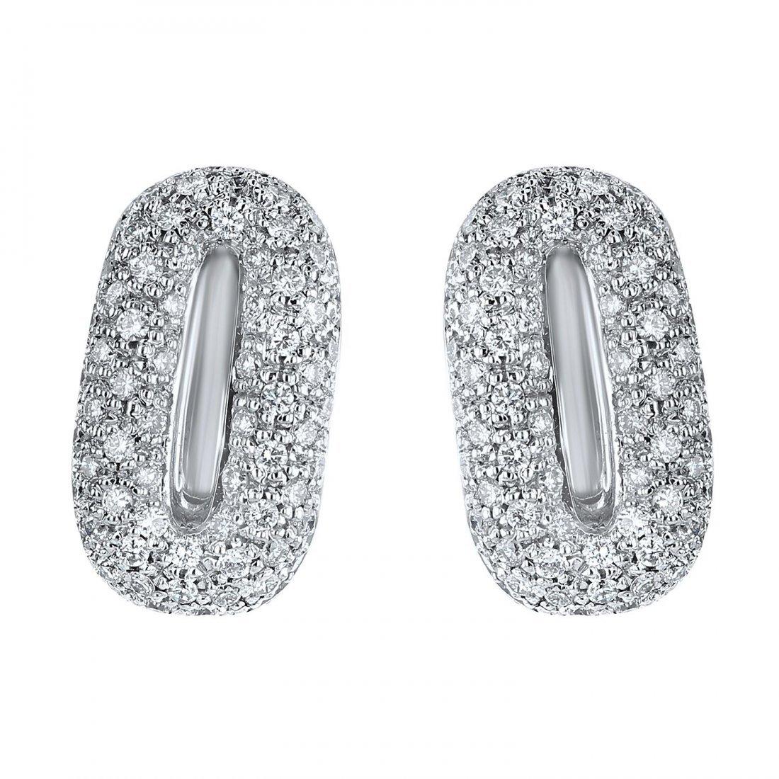 18K White Gold 1.58 CT Diamond Earrings