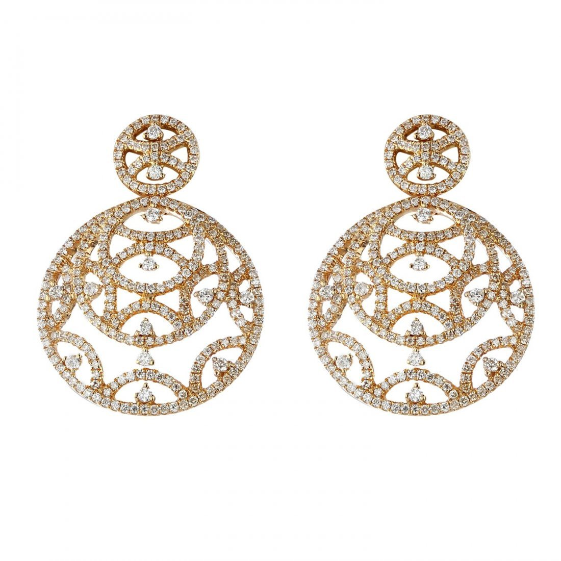 18K Gold 2.05 CT Diamond Earrings