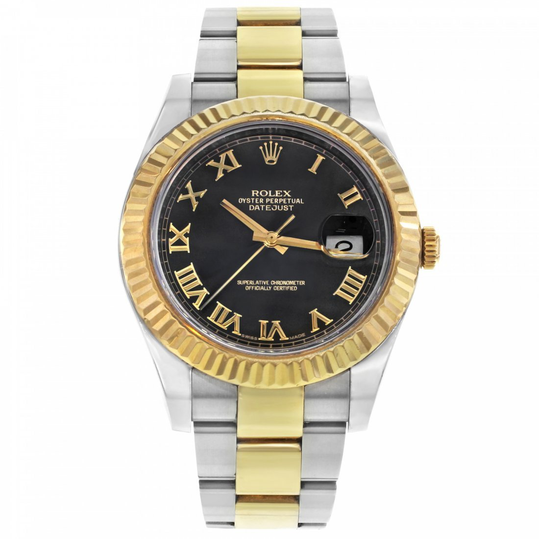 ROLEX DATEJUST BLACK ROMAN DIAL STEEL 18K GOLD WATCH