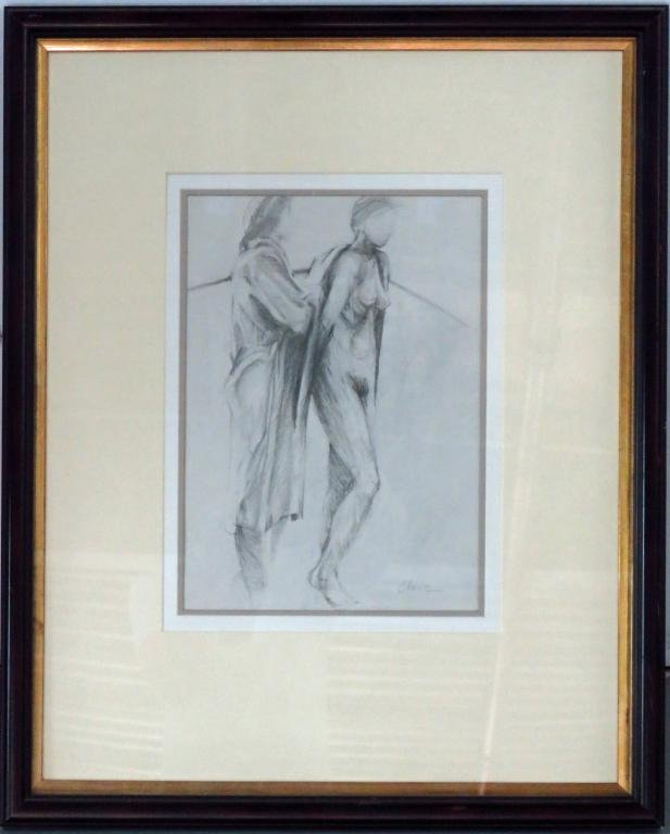 MODERNIST NUDE GRAPHITE DRAWING SIGNED CHASE