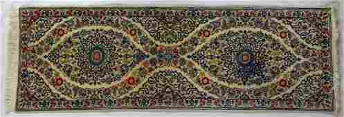 PERSIAN ORIENTAL CARPET RUNNER IVORY W SILK ACCENT