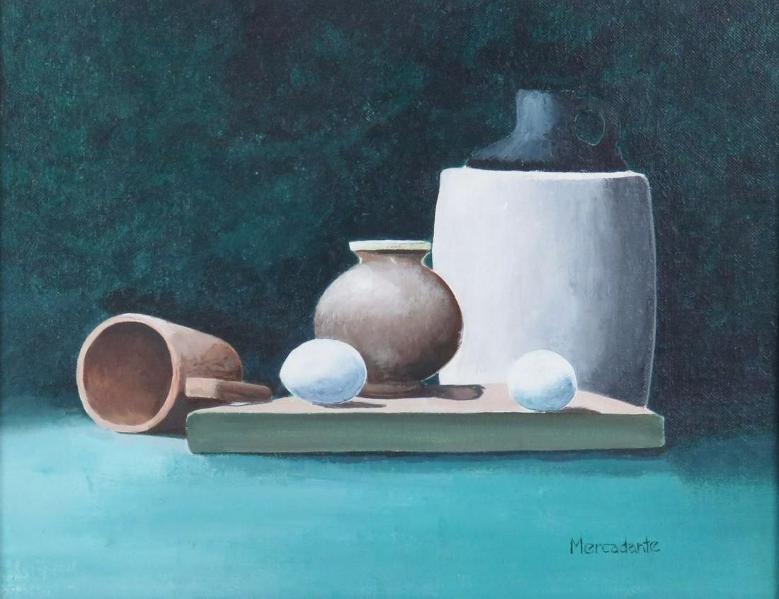 MODERN STILL LIFE PAINTING POTTERY & EGGS SIGNED