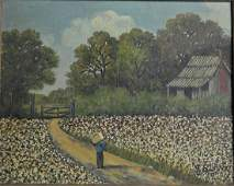 AFRICAN AMERICAN COTTON PICKING PAINTING SIGNED