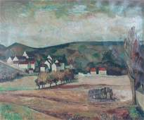 NEW HOPE SCHOOL LANDSCAPE PAINTING SIGNED