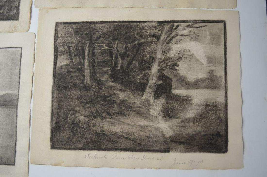 LOT (5) 19TH C AMERICAN SCHOOL DRAWINGS