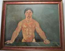 EROTIC PAINTING OF A HANDSOME MAN SIGNED PEMBERTON