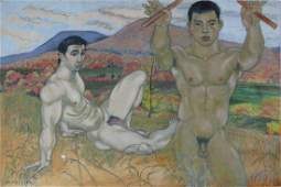 2 NUDE MEN IN LANDSCAPE HOMOEROTIC PAINTING