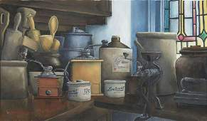 STILL LIFE KITCHEN W POTTERY PAINTING SIGNED