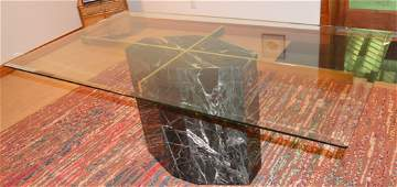 ARTEDI GEOMETRIC MARBLE BRASS & GLASS DINING TABLE