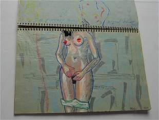 MODERN ARTWORK SKETCHBOOK W APPROX 20 DRAWINGS