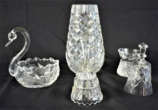 LOT CUT CRYSTAL INCLUDING WATERFORD VASE