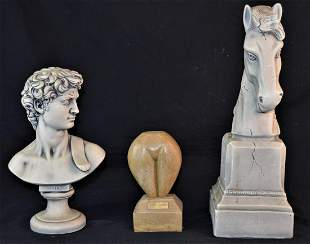 "3 SCULPTURES DAVID, HORSEHEAD, & ""TONY AWARD"""