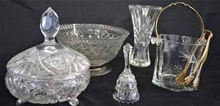 LOT 6 PIECES VINTAGE CRYSTAL & CUT GLASS