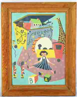 PRIMITIVE ILLUSTRATION ART CHILDREN'S PAINTING