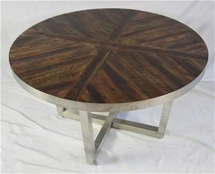 INDUSTRIAL MODERN STEEL & PLANK COFFEE TABLE