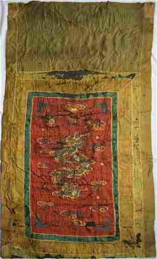 ANTIQUE CHINESE SILK DRAGON EMBROIDERED PANEL