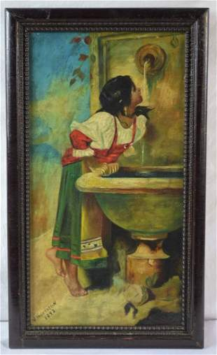 AFTER LEON BONNAT PAINTING WOMAN FOUNTAIN SIGNED