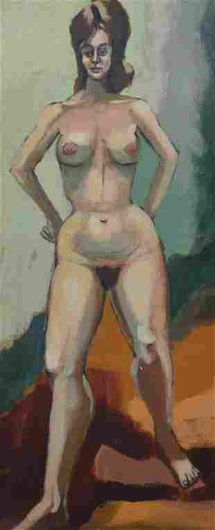 MID CENTURY MODERNISH NUDE PAINTING OF A WOMAN