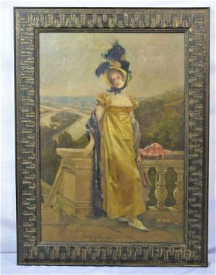 ANTIQUE PAINTING OF A VICTORIAN WOMAN