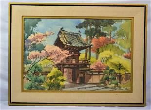 PAINTING JAPANESE TEA GARDEN GOLDEN GATE PARK