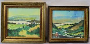 TWO MINIATURE WATERCOLOR PAINTINGS SIGNED FRAMED