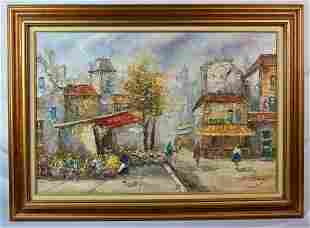 PARISIAN STREET SCENE PAINTING SIGNED L. BASSET