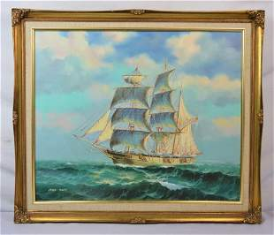 AMERICAN CLIPPER SHIP SAILBOAT PAINTING SIGNED