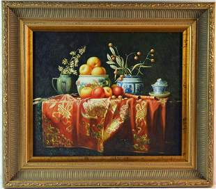 FINELY FRAMED LUMINOUS STILL LIFE PAINTING