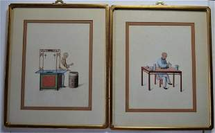 PAIR  ANTIQUE CHINESE PAINTINGS PORCELAIN ARTIST