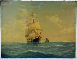 LUCA PAPALUCA CLIPPER SHIP SAILING PAINTING