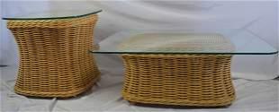 LOT FICKS REED RATTAN & GLASS COFFEE & SIDE TABLE