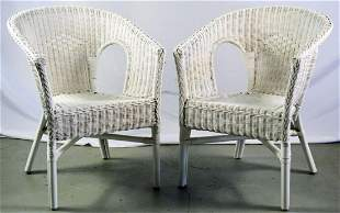PAIR (2) VINTAGE WHITE WICKER LOUNGE CHAIRS